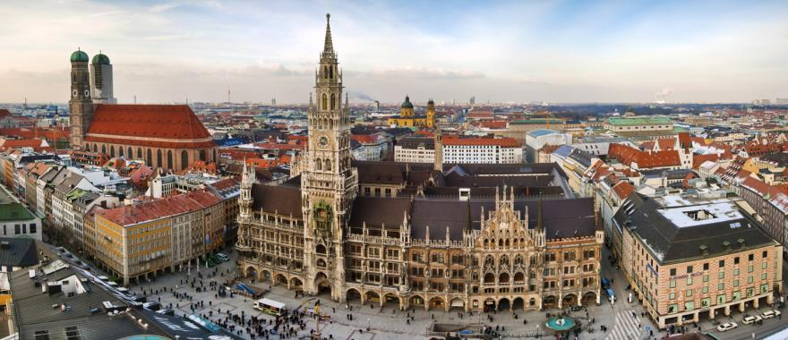An aerial view of Marienplatz in Munich, Germany.