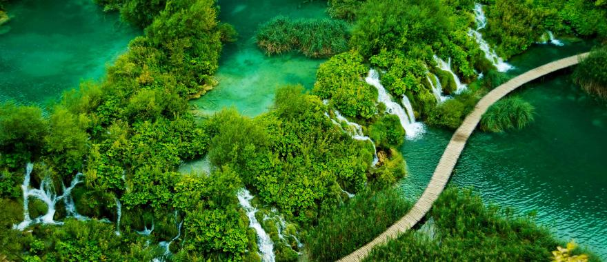 A wooden walkway in Plitvice Lakes National Park, Croatia.