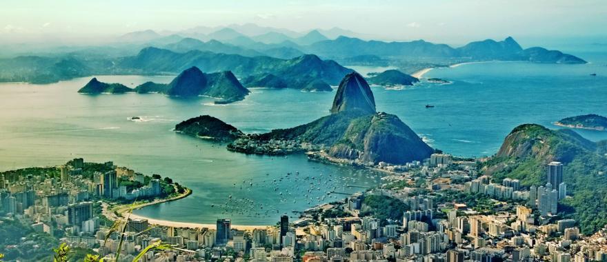 An aerial view of Rio de Janeiro, Brazil.