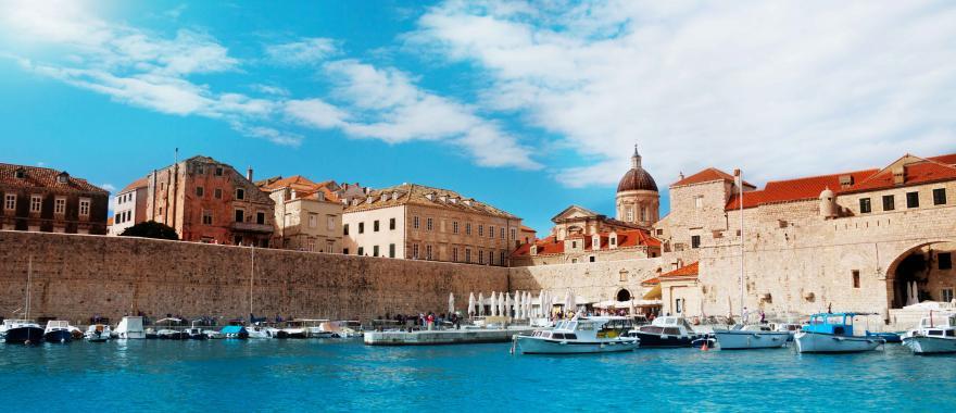 The harbor in Dubrovnik, Croatia.