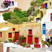 Colorful architecture and doors of Santorini, Greece