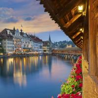 Twilight hour in Lucerne, Switzerland.