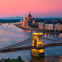 Panorama of bridge in Budapest, Hungary