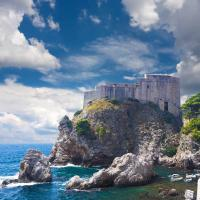 Fort Lovrijenac on a high cliff and small bay of the Adriatic Sea, Dubrovnik