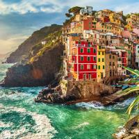 Manarola is the second smallest of the famous Cinque Terre towns, Italy.