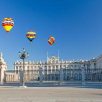 spain madrid royal palace with hot air balloons