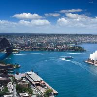 australia sydney opera house and the harbor waterfront buildings