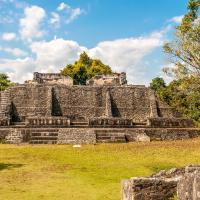 Wide view of ruins Xunantunich Belize.