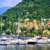 Yachts moored on Lake Garda, Italy.