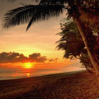 Sunset over beach in Corcovado National Park.
