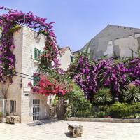 Flower filled patio in Split, Croatia.