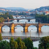 View of bridges in Prague, Czech Republic.